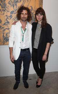 Artist Todd DiCiurcio and Felicity Jones at the Todd DiCiurcio