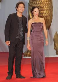 Claudio Santamaria and Chiara Caselli at the 65th Venice Film Festival.