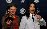 Flea and Anthony Kiedis at the 49th Annual Grammy Awards.