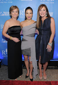 Figure skater Dorothy Hamill, figure skater Michelle Kwan and Peggy Fleming at the New York premiere of
