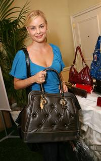 Jessica Collins at the Hearts On Fire Green With Envi celebrity gift lounge.