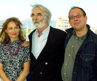 Isabelle Huppert, director Michael Haneke and Olivier Gourmet at the photocall of