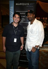 Jesse L. Martin and Guest at the Distinctive Assets gift lounge during the HBO Comedy Festival.