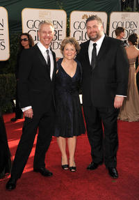 Chris Sanders, Bonnie Arnold and Dean Deblois at the 68th Annual Golden Globe Awards.