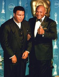 Muhammad Ali and George Foreman at the Academy Awards.
