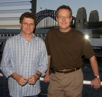 Drew Forsythe and Jonathan Biggins at the Sydney Theatre Company launch of the 2004 season.