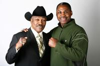Joe Frazier and Marvis Frazier at the portrait session at his boxing gym.