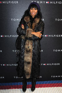 Mia Frye at the opening of Tommy Hilfiger Champs-Elysees Flagship.