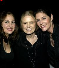 Kathy Najimy, Gloria Steinem and Mo Gaffney at the opening night of