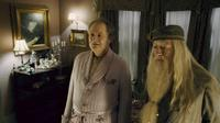 Jim Broadbent as Professor Horace Slughorn and Michael Gambon as Professor Albus Dumbledore in