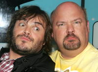 Jack Black and Kyle Gass at the MTV's Total Request Live.