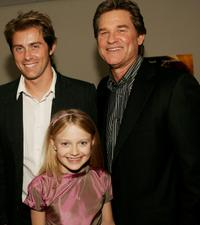 John Gatins, Dakota Fanning and Kurt Russell at the premiere of