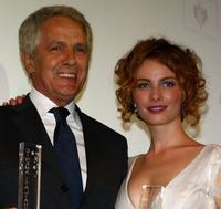 Giuliano Gemma and Violante Placido at the Kino Diamanti al Cinema Award during the 65th Venice Film Festival.