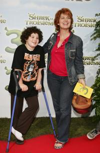 Veronique Genest and her son at the premiere of
