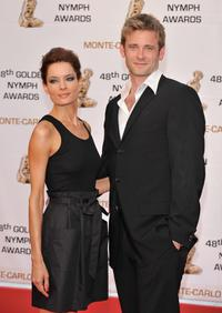 Gina Holden and Eric Johnson at the Golden Nymph awards ceremony during the 2008 Monte Carlo Television Festival.