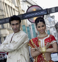 Arif Zakaria and Carol Furtado at the Piccadilly Circus to promote