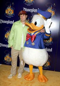 Sean Astin and Donald Duck at the Gold Carpet for the Disneyland 50th Anniversary Celebration.