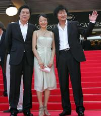 Lee Chang-Dong, Do-Yeon Jeon and Song Kang-ho at the screening of