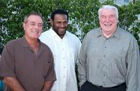 Al Michaels, Jerome Bettis and John Madden at the 2007 Summer Television Critics Association Press Tour.