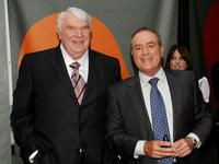 John Madden and Al Michaels at the NBC Upfronts.