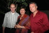 John August, Angela Kirgo and Chris Brancarto at the Writers Guild Foundation Cocktail Party.