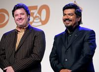 Vince Gil and George Lopez at the 50th Annual Grammy Award Nominations.