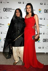 Director Deepa Mehta and Preity Zinta at the premiere of