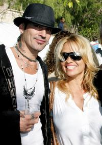 Tommy Lee and Pamela Anderson at the annual party to thank movie, television and music star friends and his co-workers for their charitable work.