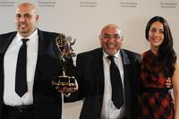Talal Awamleh, Adnan Awamleh and Cecilia Suarez at the 36th Annual International Emmy Awards.