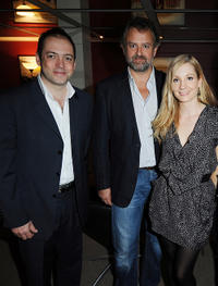 Gareth Neane, Hugh Bonneville and Joanne Froggatt at the screening of ITV's Downton Abbey in London.