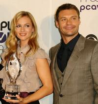 A.J. Cook and Ryan Seacrest at the 34th Annual People's Choice Awards Nominations Announcements and Party.