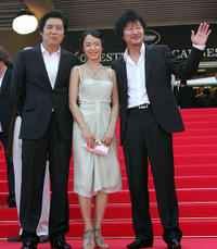 Director Lee Chang-Dong, Jeon Do-yeon and Kang-Ho Song at the red carpet of 60th International Cannes Film Festival.