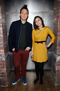 Mark Hoppus and Dia Frampton at the portrait session of
