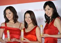 Asaka Seto, Kyoko Koizumi and Kazue Fukiishi at the unveiling of new line up of skin care and anti-aging product brand