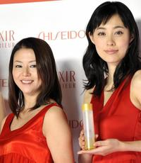 Kyoko Koizumi and Kazue Fukiishi at the unveiling of new line up of skin care and anti-aging product brand