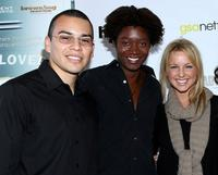 Joseph Julian Soria, Matthew Thompson and Ellie Gerber at the premiere of