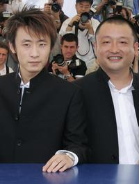 Li Bin and Wang Xiaoshuai at the 58th International Cannes Film Festival.