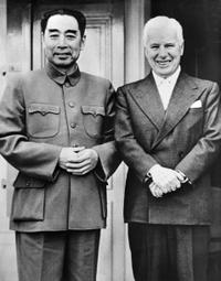 Zhu Enlai, chief of Chinese delegation, and Charlie Chaplin.