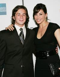 Michael Angarano and Gina Gershon at the premiere of