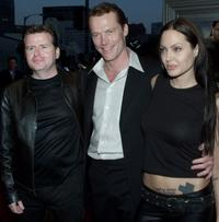 Director Simon West, Iain Glen and Angelina Jolie at the premiere of