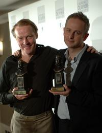 Iain Glen and Dominic Cooke at the Lawrence Olivier Theatre Awards.