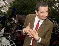 Rowan Atkinson at 59th street and 5th avenue in N.Y. to promote