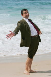 Rowan Atkinson on Sydney's Bondi Beach to promote
