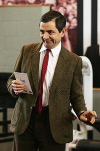 Rowan Atkinson at the Collingwood Magpies AFL gym training session in Australia.