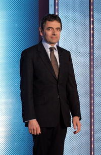 Rowan Atkinson on stage during the live broadcast of