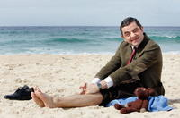 Rowan Atkinson at Bondi Beach in Australia to promote