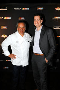 Wolfgang Puck and Kyle Busch at the NASCAR Evening Series during the day 2 of the NASCAR Sprint Cup Series Champions Week.