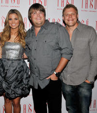 Amber Lancaster, Jareb Dauplaise and Alex Solowitz at the Amber Lancaster's Birthday party in Las Vegas.
