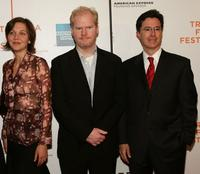 Maggie Gyllenhaal, Jim Gaffigan and Stephen Colbert at the screening of