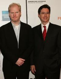 Jim Gaffigan and Stephen Colbert at the screening of